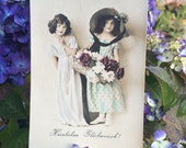 Beautiful Girls - Real Photo Postcard - Straw Hat  - Basket - Roses - Twins