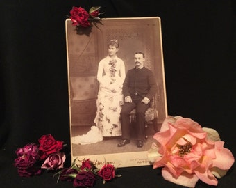 Cabinet Card Photo - Wedding - Bride -  Rose Covered Gown - Altoona - PA - Woman