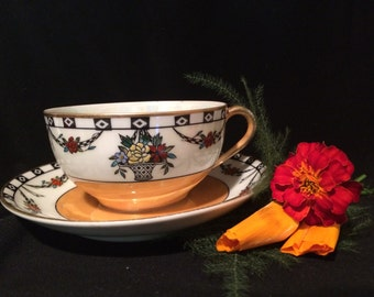 Noritake Luster Cup and Saucer - Orange with Flower Baskets and Garlands - Wedding Table Setting