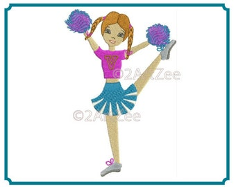 Cheerleading Herkie with Pom Poms Machine Embroidery Design Cheerleader 4 sizes