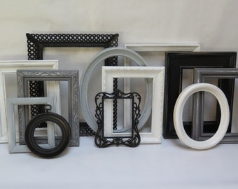 Painted Picture frame set 12 Black, Gray and white frames lightly distressed with glass