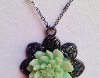 Hand Made Pendant  --  NEW  --  Vintage blue-green Flower Pendant  --  Handmade Necklace  --  One of a Kind  --  (#1318)