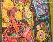 Folk Leaves - Printed Art Quilt