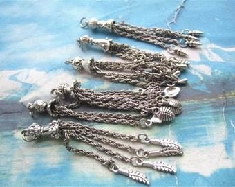 10pcs 80mm antiqued silver assorted tassel findings pendants