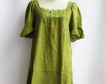 D24, Light Green Butterfly Effect Cotton Dress