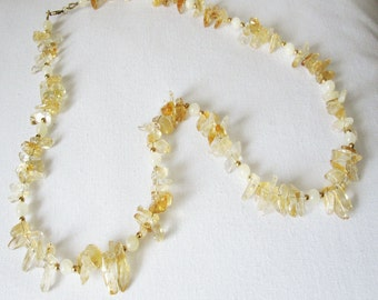Citrine  & Mother of Pearl and Gold Filled Necklace Handmade