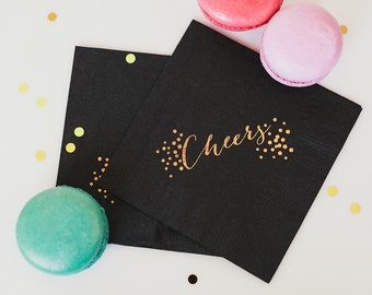 Cheers Cocktail Napkins,  Foil Stamped, 3 Ply, 20 CT. , Birthday, Parties, Graduation