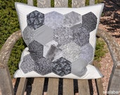 Black, White and Grey Hexagons Quilted Pillow Cover Ready to Ship