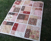 Modern blocks quilt hand tied patchwork pink and red quilt brown and pink lap quilt