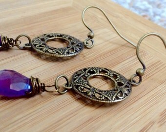 Amethyst retro 60s and 70s inspired Edie Sedgwick dangle earrings