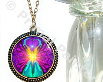 "Spiritual Jewelry, Rainbow Necklace, Moon Angel Chakra Pendant Necklace ""The Beacon"""