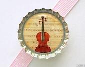 Violin Bottle Cap Magnet - violin magnet, fridge magnet, violin gifts, music teacher gift, for music lover, music magnet, music home decor