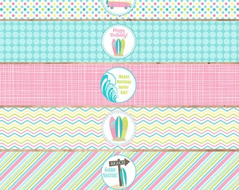 Surf Theme Party Water Bottle Labels in Pink- Surfboard, Beach, Van, Birthday Party, Beach Party-Printable file