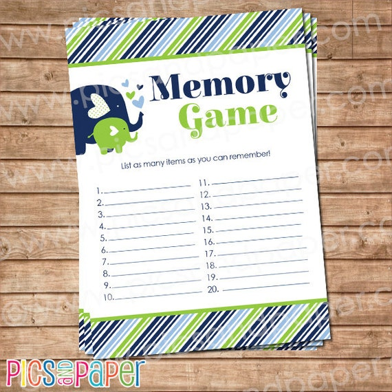 items similar to elephant memory game for baby shower printable game