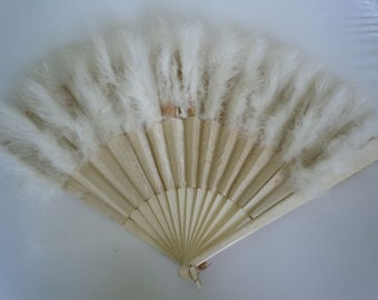 Antique Hand Fan White Marabou Feathers & Satin Wedding Fan