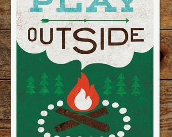 8x10 Happy Camper, Play Outside, Campfire, Art Print, Woods, Camping, Forest, Nature, Vintage, Retro