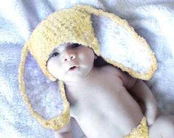 0 to 3m Newborn Yellow Bunny Hat, Yellow Baby Hat, Crochet Hat For Baby Bunny Beanie Baby Shower Gift, Baby Rabbit Newborn Photo Prop Gift