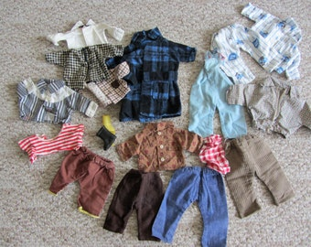 Vintage Doll clothing lot - larger boy doll - mostly homemade