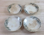 Vintage Shabby Chic Set of Bluegreen Ironstone Butter Pats