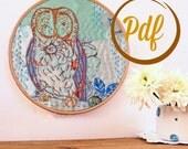 Owl embroidery pattern pdf. Woodland design. Whimsical bird on branch. Diy wall art. Needlework. Childrens decor. Nursery art. Hoop art