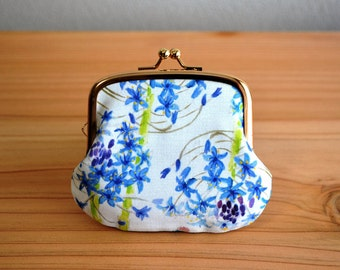 OOAK blue floral tiny coin purse - Original art by Yuriko - floral, art, special. Handmade in Japan. Ready to ship.
