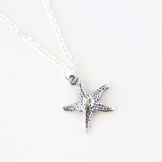 You Are a Star // Sterling Silver Necklace // everyday simple starfish ocean jewelry.