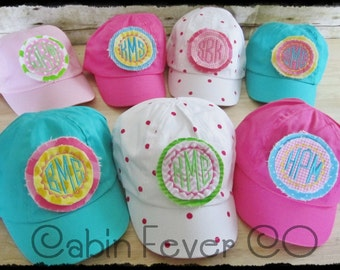 TODDLER Baseball Cap - - - Bright Colors or Pink Polka Dot with 2 Layer Patch and Embroidered Monogram or Initial