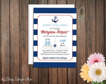Baby Shower Invitation - Nautical Stripes and Anchor