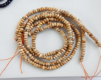 2x4mm Picture jasper faceted rondelle beads, full strand,