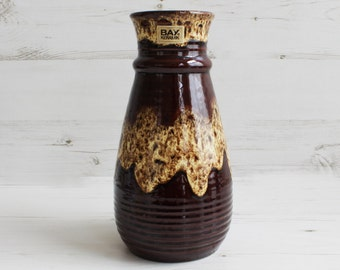 Vintage West Germany Vase - Flower Large Bay Keramik Brown Drip glazed Home decoration Ridged