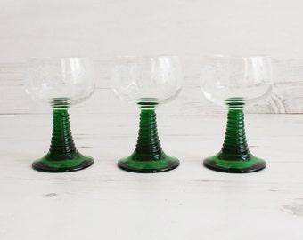 Vintage Drinking Glasses - Green Measurement Glassware Kitchenware Barware Collection