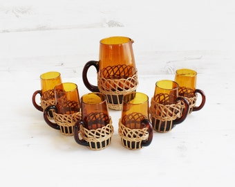 Vintage Rattan Jug and Drinking Glasses - Pitcher Orange Wicker Large Serving Summer Beverage Glassware Barware