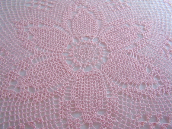Hand crocheted tulip pink and pineapple tablecloth