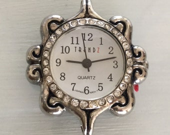 Antique Silver Round Crystal Embedded Watch Face