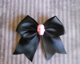 black Hair bow  with pink skull sweet punk lolita pastel goth