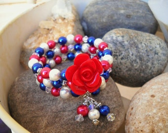 Dark Red Dark Blue Lapis and White Glass Pearl Beaded Memory Wire Bracelet with Flower Accent