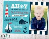 NAUTICAL Birthday INVITATION Nautical First Birthday Invitation - Whale Sailboat  Boat Anchor Lighthouse Summer Beach