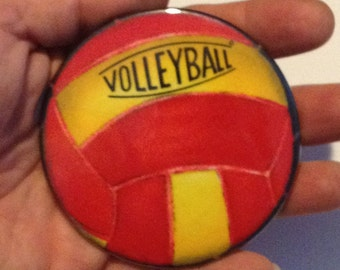 "VOLLEYBALL Pocket Mirror RED and YELLOW Large 3"" Glass Mirror"