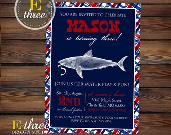 Preppy Shark Birthday Party Invitations - Plaid, Red, White and Blue Party Invitation - Nautical Pool Party invite