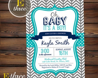 Baby Boy Shower Invitation - Modern Hipster Baby Shower Invite - Navy, turquoise, gray - Chevron and Polka dots