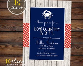Seafood Boil Invitation - Low Country Boil Party Invite - Rehearsal Dinner Invite - Summer Seafood Party - Red, White, Blue Gingham