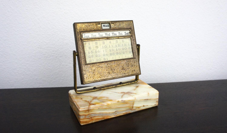 Perpetual Calendar Desk : Vintage perpetual desk calendar marble base brass patina
