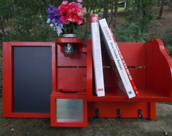 Kitchen Organizer--Cook Book Rack--Mail--Recipe Card Holder--Chalk Board--3 Key Hooks