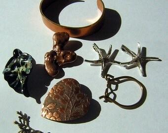 Jewelry Lot Pendant & Bracelet Destash CLEARANCE Supplies Leaf Heart Starfish Nugget