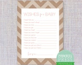 Print Your Own Baby Wish Cards - Kraft Paper & Pink - Chevron - Baby Book Keepsake - Baby Shower Game