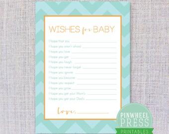 Print Your Own Baby Wish Cards - Aqua and Orange - Chevron - Baby Book Keepsake - Baby Shower Game