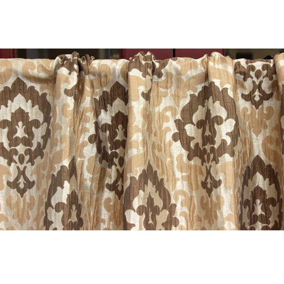 Beige damask divine grommet unlined curtain in textured for Beige damask curtains