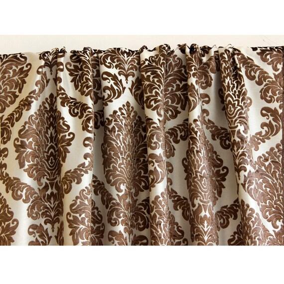 n marron ivoire damass doubl rideau dans burnout brun. Black Bedroom Furniture Sets. Home Design Ideas