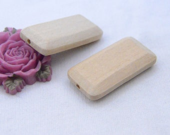 Wholesale rectangle wood beads natural wood decoration Unfinished wooden beads 41x20mm