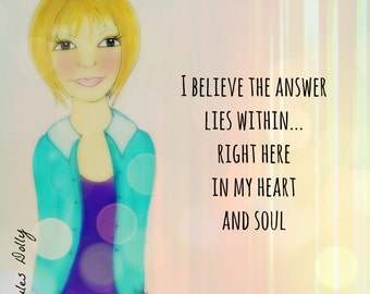 """Muse Mantra Notecard - """"I believe the answer lies within . . ."""""""